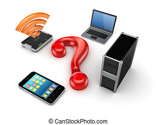 Router, notebook, PC,mobile phone and query sign. Isolated ...
