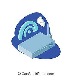 router, nuvem, informação, sem fios