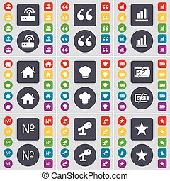 Router, Quotation mark, Diagram, House, Cooking hat, Charging, Number, Microphone, Star icon symbol. A large set of flat, colored buttons for your design. Vector