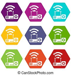 Router repair icons set 9