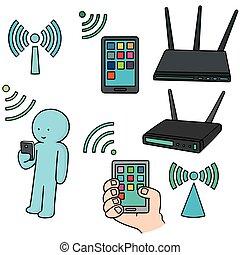 router, vektor, satz, wifi