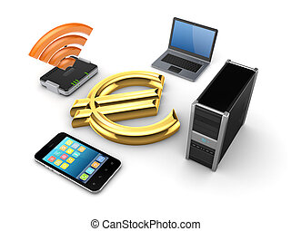 Router,notebook,PC,mobile phone and euro sign.