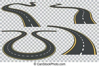 routes, courbé, vecteur, isolé, perspective