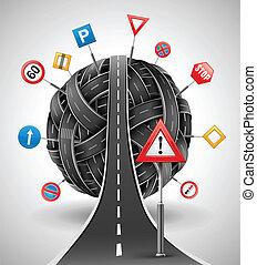 routes, enchevêtrement, signes