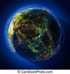 routes, luchtvaart, majoor, globaal, globe