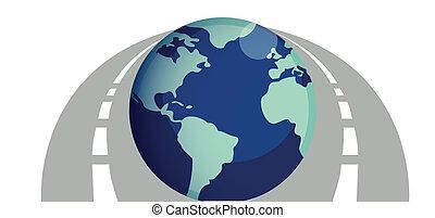 routes, mondiale, autour de, illustration