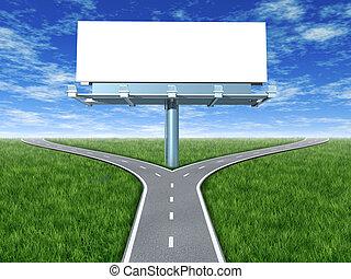routes, panneau affichage, croix