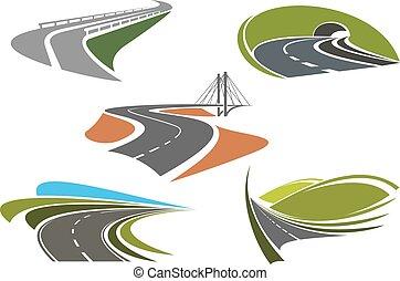 routes, résumé, autoroute, asphalte, icônes