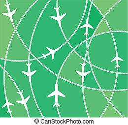 routes, vliegtuig, bestemming
