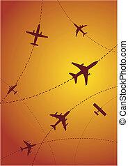 routes, vliegtuig zonsondergang