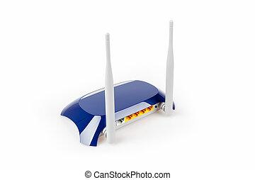 routeur, blanc, isolé