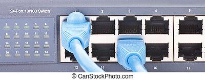 routeur, câbles, réseau, ethernet