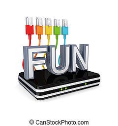 routeur, fun., mot, patchcords