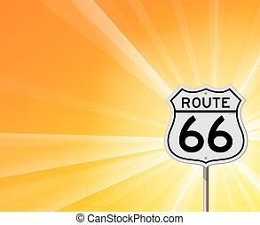 routez-en 66, signe, et, soleil