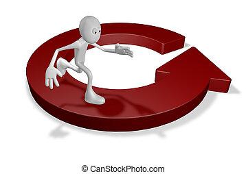 routine - cartoon guy runs on round arrow - 3d illustration