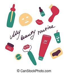 routine., graphique, produits, mon, icônes, main, cosmétique, accessories., numérique, beauté, vecteur, dessiné, plat, print.