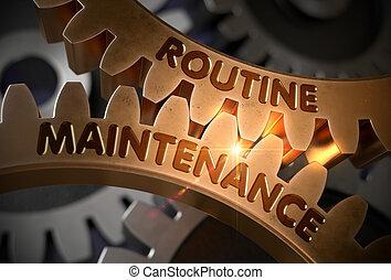 Routine Maintenance Concept. Golden Gears. 3D Illustration....