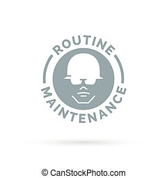 Routine maintenance contractor icon. Construction worker with hardhat sign.