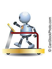 routine, poco, robot, 3d, grasso, illustrazione, risolvere