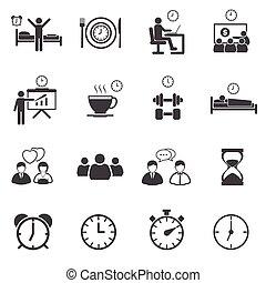 routine, set, activiteit, alledaags, iconen