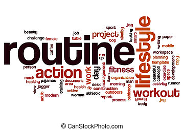 Routine word cloud concept