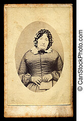 rouw, victoriaans, dame, antieke , foto