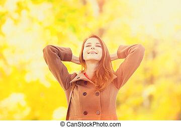 roux, automne, girl, parc