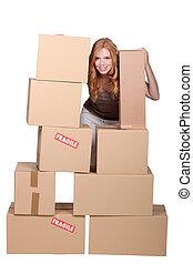 roux, boîtes, femme, carton