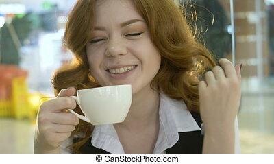roux, cappuccino, femme, boire, cafe.