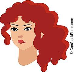 roux, cheveux, girl, bouclé