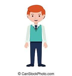 roux, cravate, formel, homme, complet