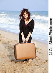 roux, girl, extérieur, valise