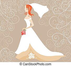roux, mariée, carte, mariage