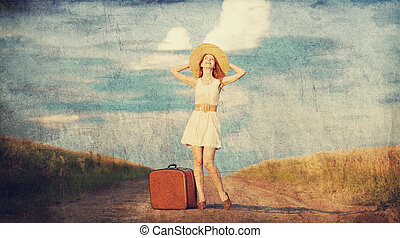 roux, outdoor., girl, valise