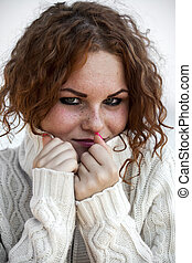 roux, sweater., girl, triste