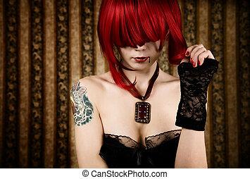 roux, vampire, à, goutte, de, sanguine