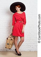 roux, vendange, girl, valise
