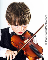 roux, violon, garçon, preschooler
