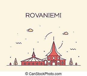 rovaniemi, スタイル, 線である, 都市, フィンランド, スカイライン, ベクトル
