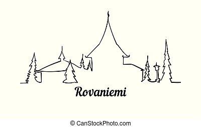 rovaniemi, スタイル, 隔離された, イラスト, 1(人・つ), バックグラウンド。, スケッチ, 線, 白