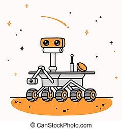 rover, caricatura, marte