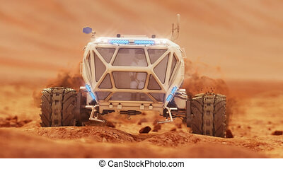 Rover rides over rough rocky surface of Martian crater. High quality 4k footage