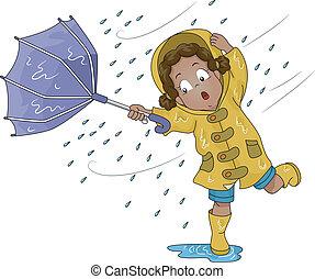 rovesciato, ragazza, ombrello