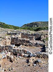 rovine antiche, in, creta, grecia