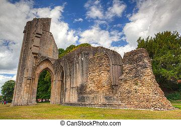 rovine, dettaglio, abbazia,  glastonbury
