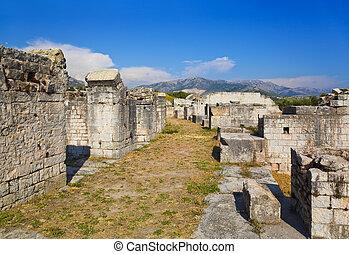 rovine, divisione, Antico, croazia, anfiteatro