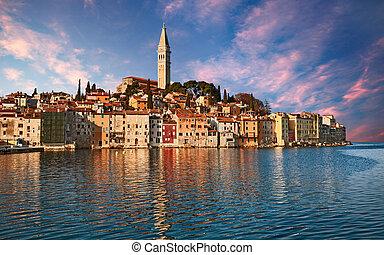 Rovinj, Istria, Croatia: landscape at sunrise of the town...