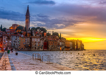Rovinj old town at night in Adriatic sea coast of Croatia,...