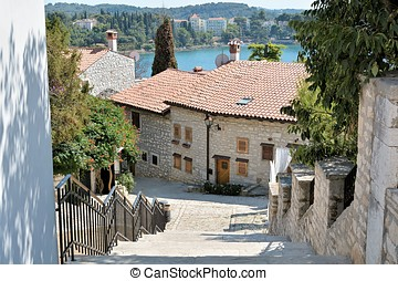 Rovinj - historical houses in the port town of Rovinj in...