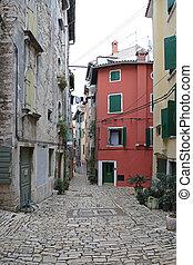 Rovinj Street - Mediterranean Cobblestones Street in...